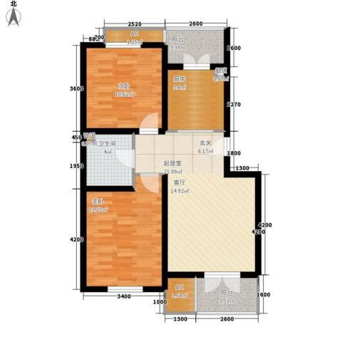 米兰新干线2室0厅1卫1厨76.00㎡户型图