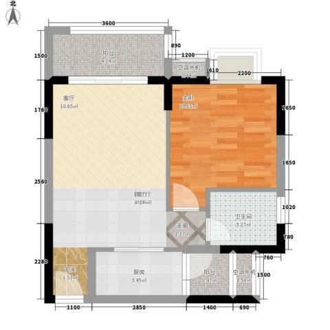 升伟新时空1室1厅1卫1厨44.00㎡户型图