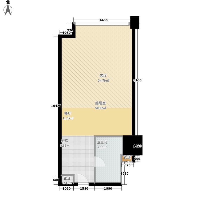 汇展香格里拉64.35㎡公寓D6面积6435m户型