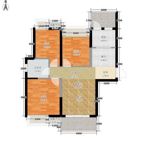 双鱼花园广场3室1厅1卫1厨98.00㎡户型图