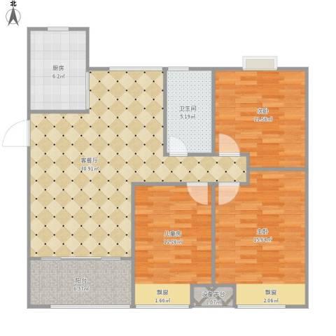 新新家园3室1厅1卫1厨120.00㎡户型图