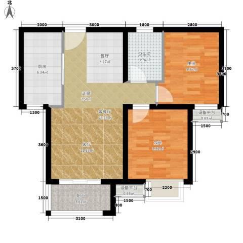 青年公寓2室1厅1卫1厨83.00㎡户型图