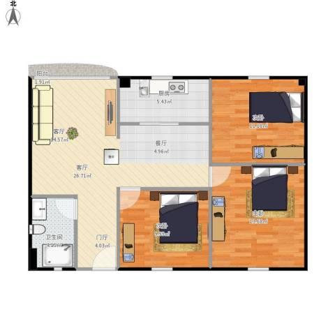 云顶花园3室1厅1卫1厨96.00㎡户型图
