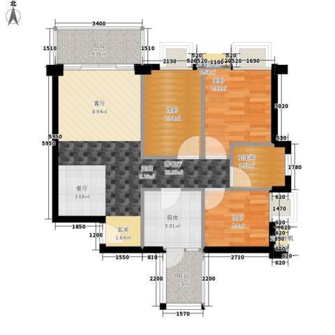 尚领时代3室1厅1卫1厨88.00㎡户型图