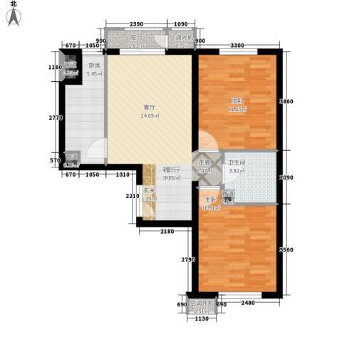 汇景园2室1厅1卫1厨79.00㎡户型图