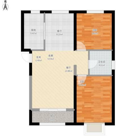 中冶蓝城2室1厅1卫1厨92.00㎡户型图