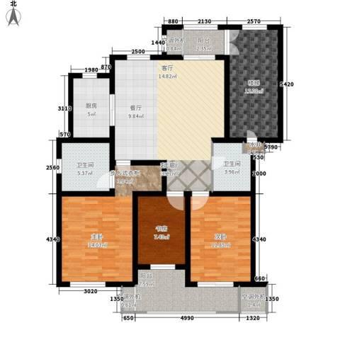 汇景园3室1厅2卫1厨120.00㎡户型图