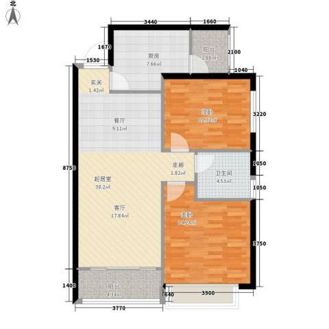 恒大名都2室0厅1卫1厨82.00㎡户型图
