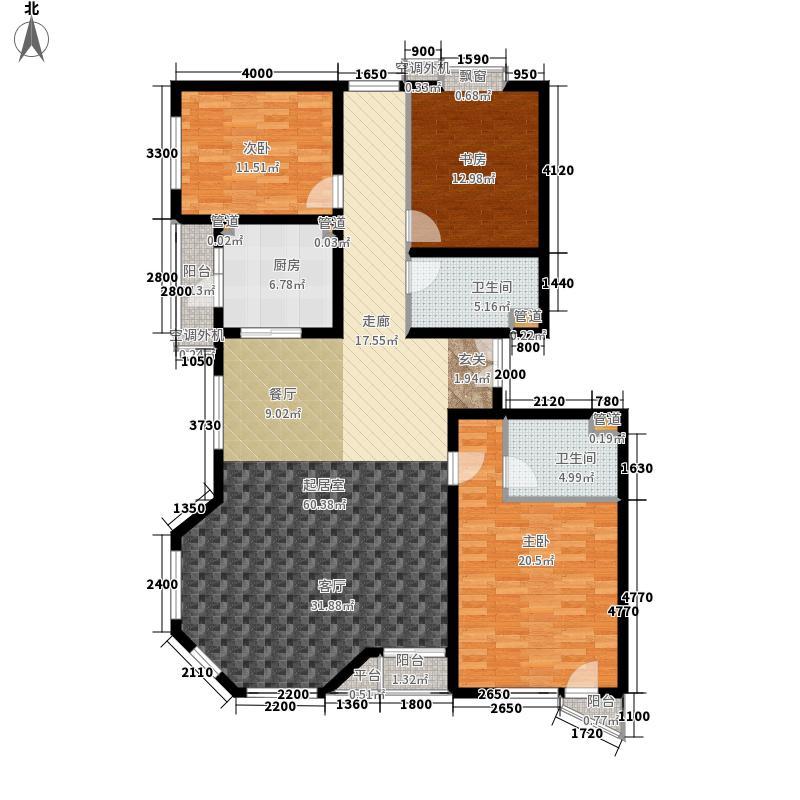 世纪东方城166.34㎡7号楼B(3居)面积16634m户型