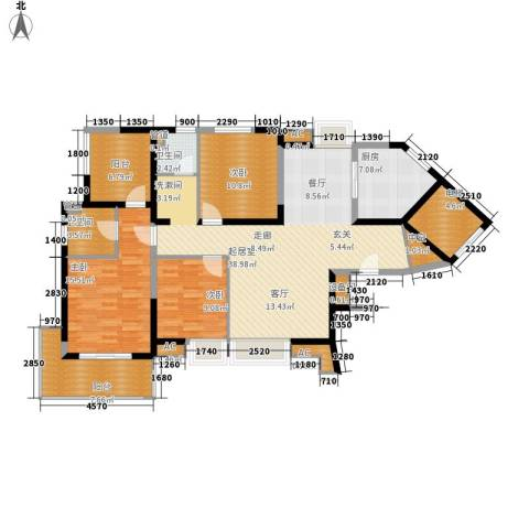 亚东国际公寓3室0厅2卫1厨159.00㎡户型图