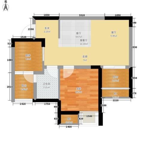 英郡1室1厅1卫1厨59.00㎡户型图