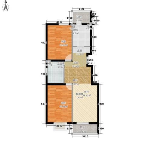 富润家园2室0厅1卫1厨89.00㎡户型图