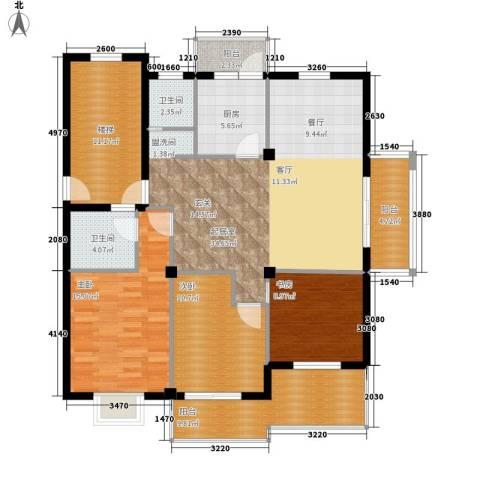 大丰水岸鑫城3室0厅2卫1厨122.00㎡户型图