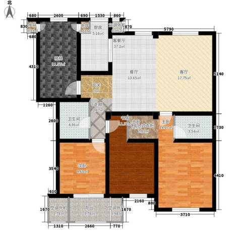 汇景园3室1厅2卫1厨128.00㎡户型图
