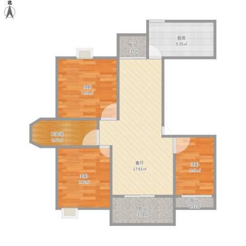 绿地东上海一期3室1厅1卫1厨74.00㎡户型图