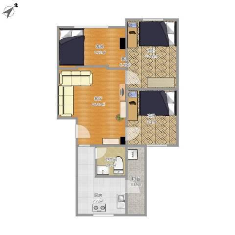 裕发楼2室1厅1卫1厨64.12㎡户型图