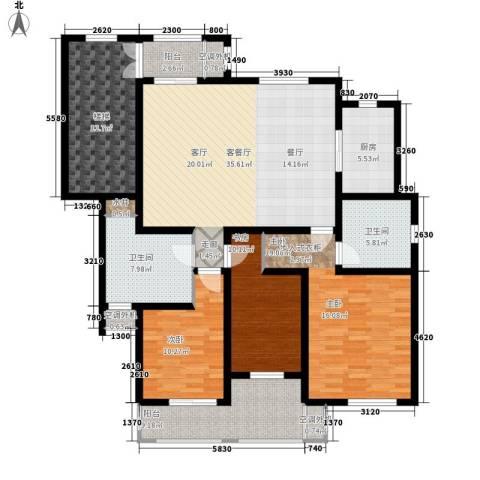 汇景园3室1厅2卫1厨140.00㎡户型图