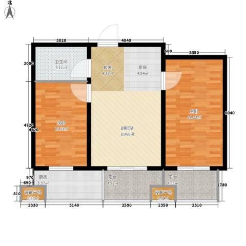 丝路起点2室0厅1卫1厨86.00㎡户型图