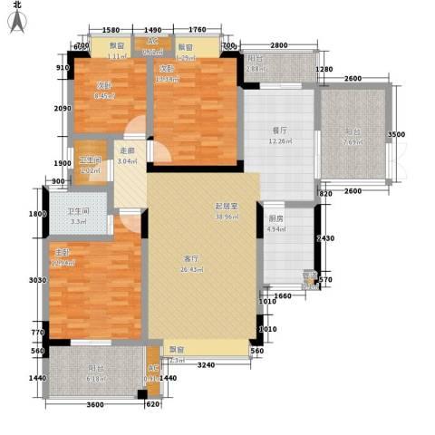 鑫远A派3室0厅2卫1厨124.00㎡户型图