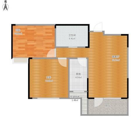 万科红郡2室1厅1卫1厨83.00㎡户型图