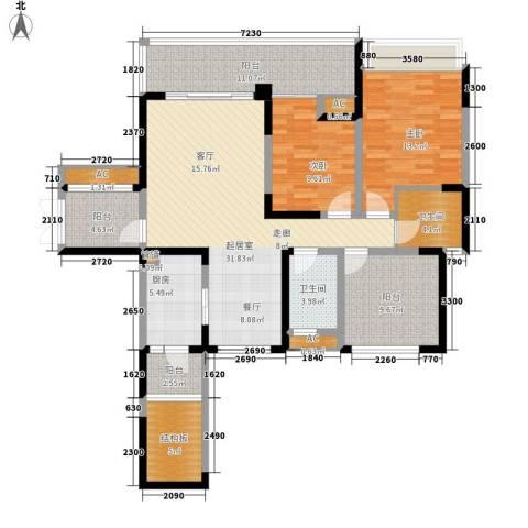 保利星座2室0厅2卫1厨124.00㎡户型图