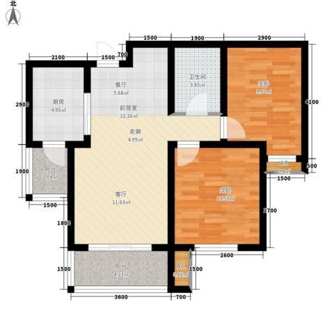 喜蜜湾2室0厅1卫1厨88.00㎡户型图