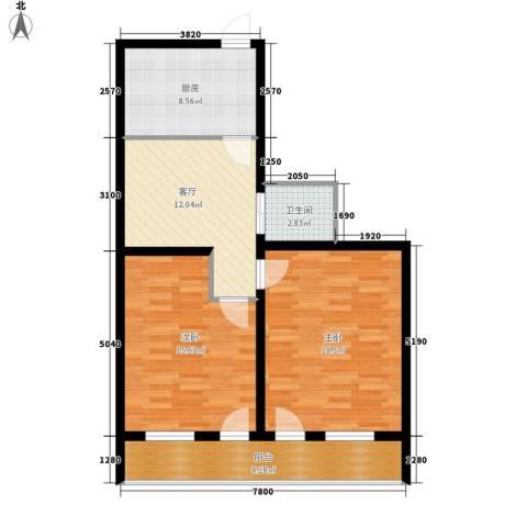 南石皮弄2室1厅1卫1厨75.00㎡户型图