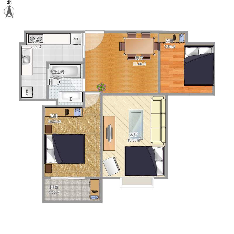 中央生活城两室两厅一卫