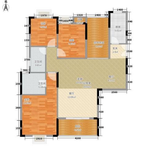 鑫远逸园3室0厅2卫1厨129.00㎡户型图