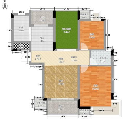 双鱼花园广场2室1厅1卫1厨115.00㎡户型图