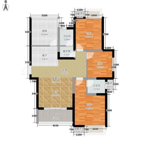 双鱼花园广场3室1厅2卫1厨121.00㎡户型图