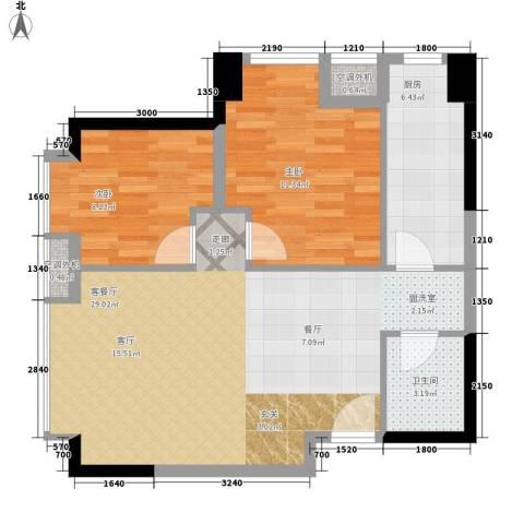 升伟新时空2室1厅1卫1厨64.00㎡户型图