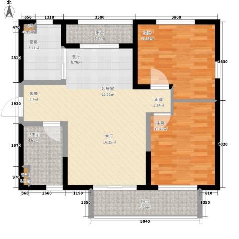 万科金域曲江2室0厅1卫1厨76.00㎡户型图