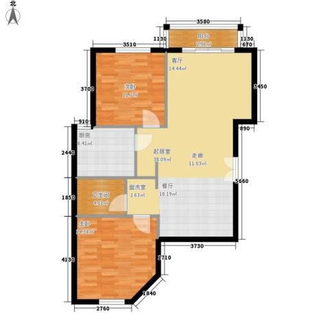 丽都壹号2室0厅1卫1厨86.00㎡户型图