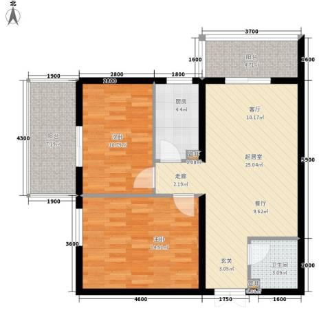 创鸿果粒城2室0厅1卫1厨89.00㎡户型图