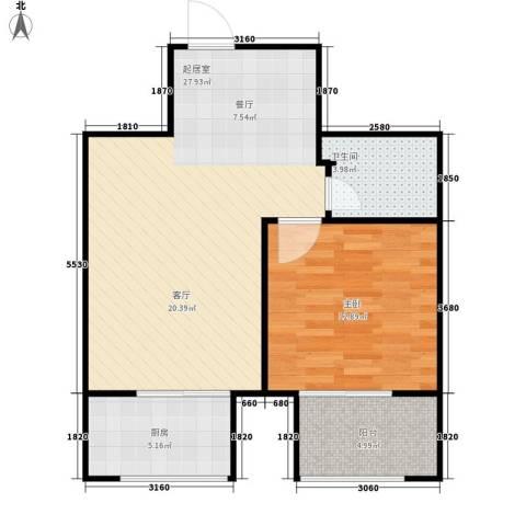 新栋1室0厅1卫1厨59.00㎡户型图