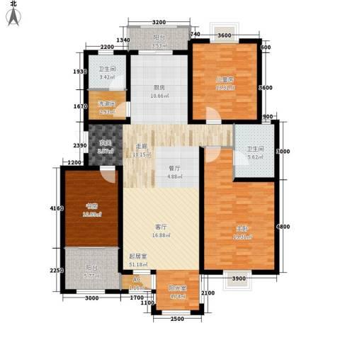 第六大道第博雅园3室0厅2卫0厨145.00㎡户型图