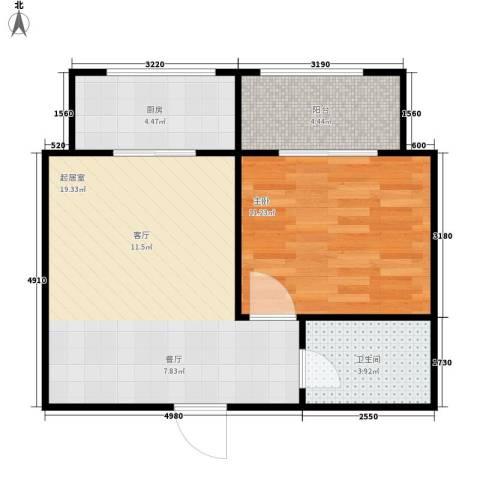 新栋1室0厅1卫1厨47.00㎡户型图