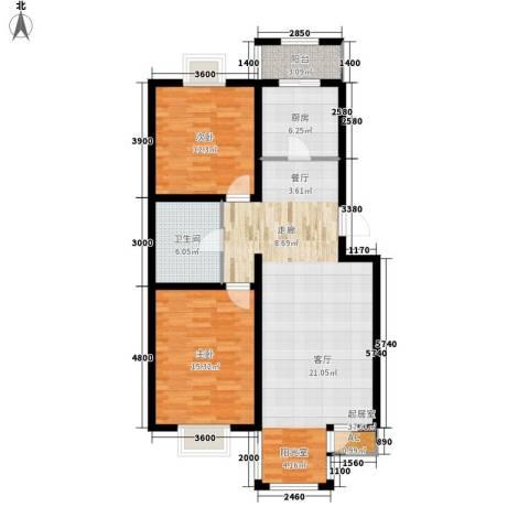 第六大道第博雅园2室0厅1卫1厨103.00㎡户型图