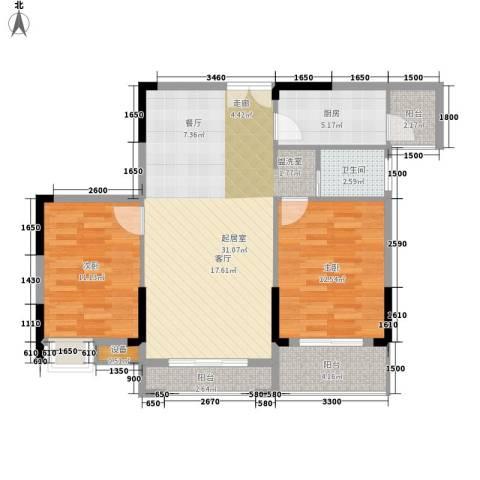鑫远逸园2室0厅1卫1厨87.00㎡户型图