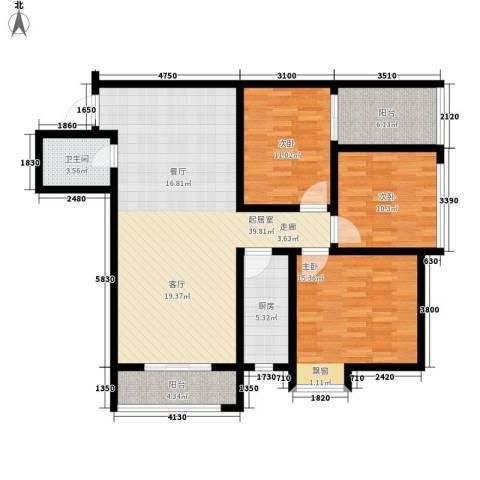 新栋3室0厅1卫1厨110.00㎡户型图