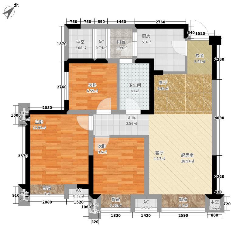 沙河名仕公馆87.54㎡3号楼标准层C2户型