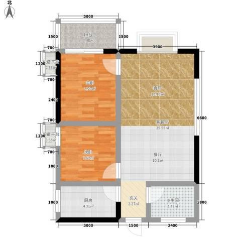 旺园大厦2室1厅1卫1厨75.00㎡户型图