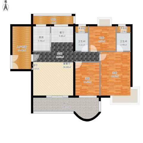 亿泉尚园3室1厅2卫1厨172.00㎡户型图