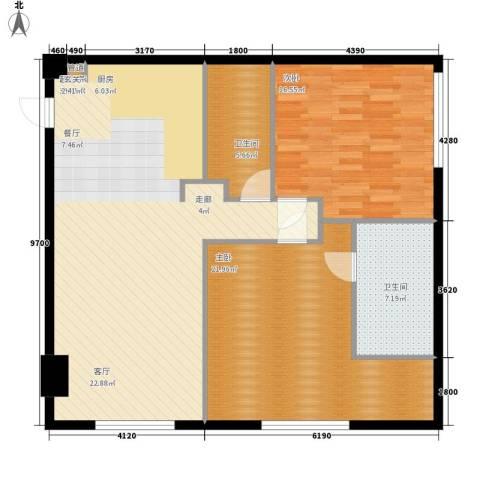 旷世国际2室0厅2卫0厨163.00㎡户型图