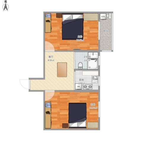 刘潭二村2室1厅1卫1厨60.00㎡户型图