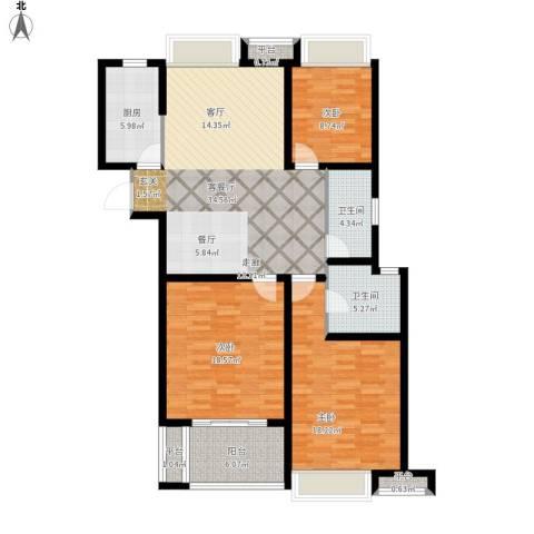 栖霞栖庭3室1厅2卫1厨149.00㎡户型图