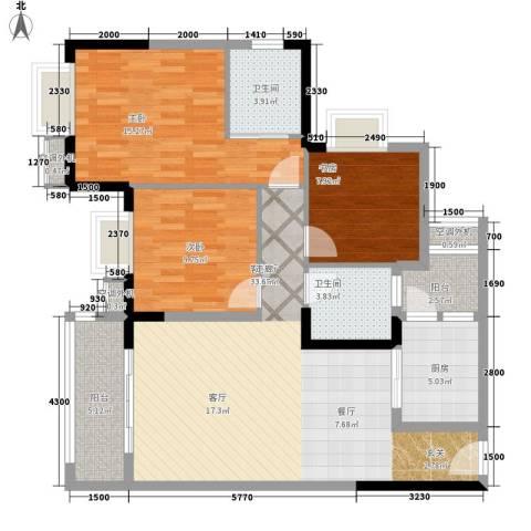 升伟新时空3室1厅2卫1厨93.00㎡户型图