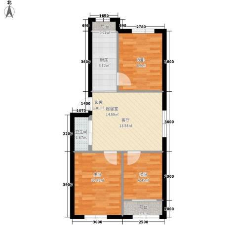龙乡小区3室0厅1卫1厨71.00㎡户型图