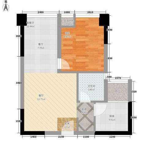 升伟新时空1室1厅1卫1厨48.00㎡户型图